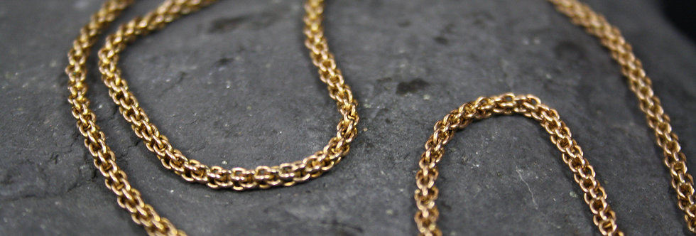 10k Pink Gold Victorian Tube Mesh Chain Victorian Necklace 2.4 mm Wide