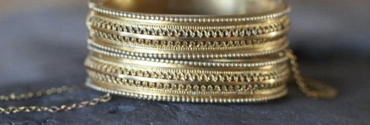 Pair of Victorian Etruscan Revival Bangle Bracelets Gold Filled Wedding Bangles
