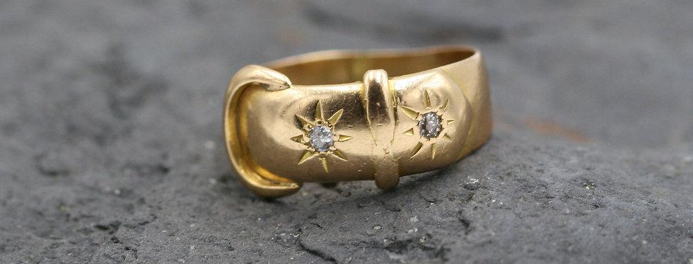 Victorian Ca. 1863 Diamond Buckle Ring 18k English Hallmarked Size 8