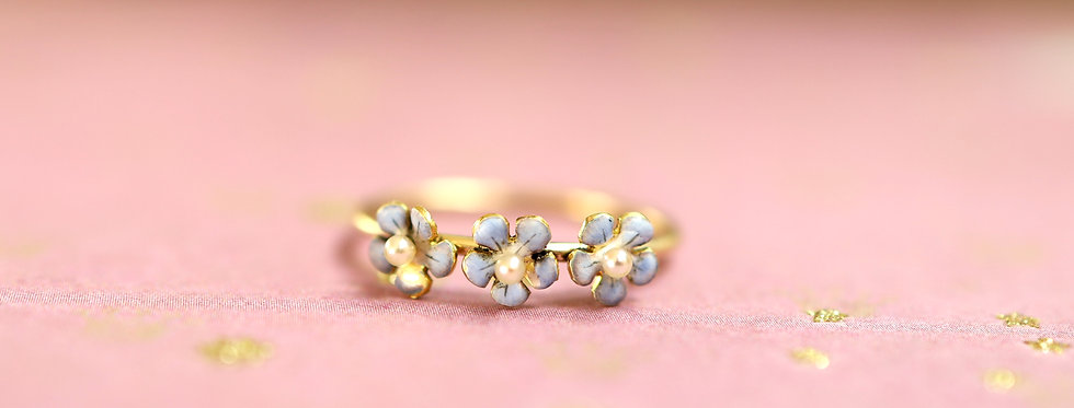 Antique Victorian Forget Me Not Pearl Ring with Baby Blue Enamel in 14k Yellow G