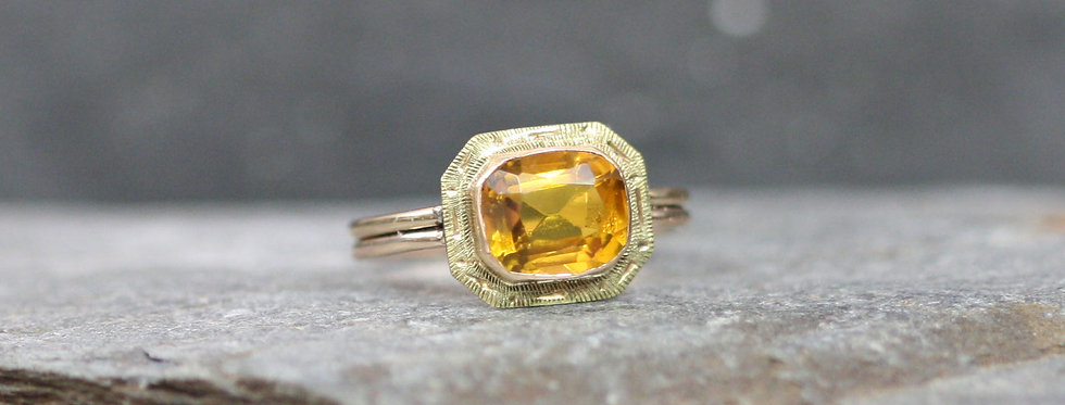 Art Deco Ring / Cushion Cut Citrine Ring in 10k Yellow Gold Conversion Ring