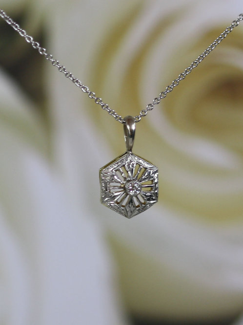Art Deco Diamond Pendant in 14k White Gold with 0.04 ct Old European Cut Diamond