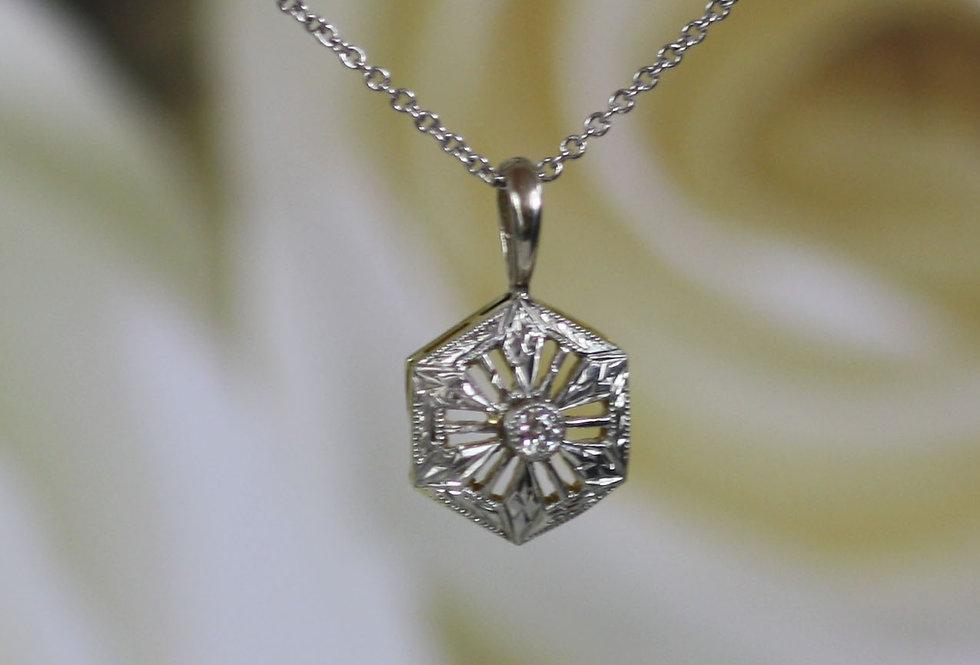 Art Deco Diamond Pendant in 14k White Gold with 0.04 ct Old European Cut Diamond
