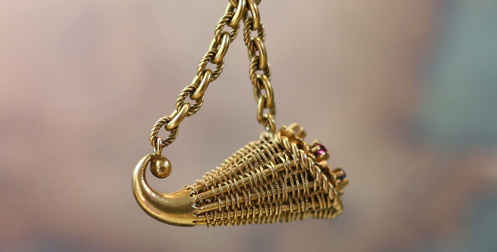 Victorian Diamond, Sapphire and Ruby Woven Basket Lavalier Pendant in 18k Yellow