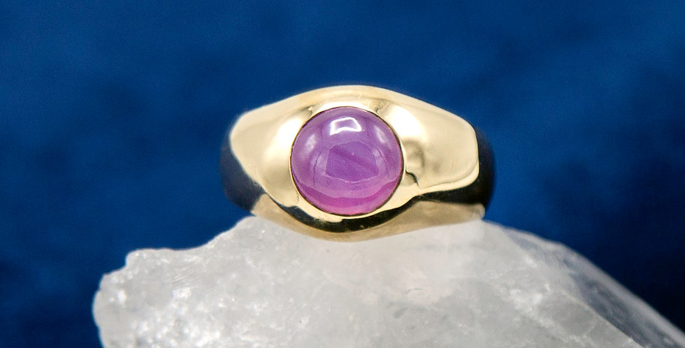 Star Ruby Ring Signet Style Estate Ring with Natural Cabochon Ruby
