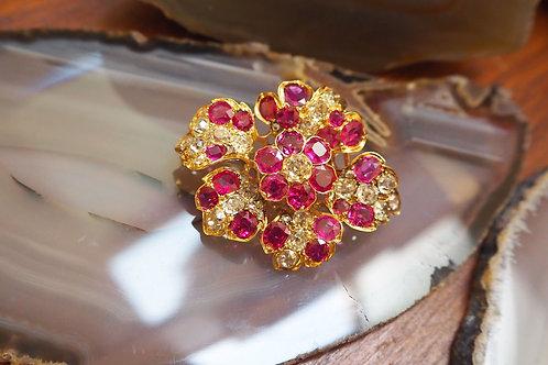 Rare Victorian Ruby and Diamond Flower Pendant & Brooch