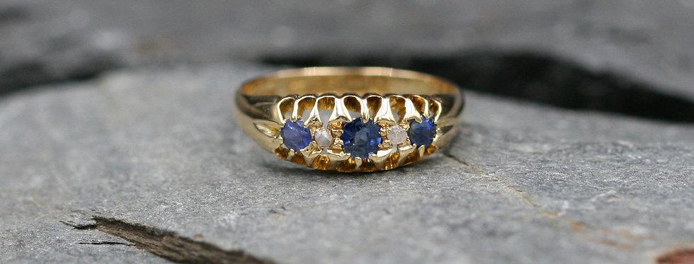 Victorian Sapphire and Diamond Band 18k Yellow Gold / Diamond & Sapphire Belcher