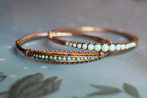 Victorian 9k Rose Gold Turquoise and Pearl Bangle Bracelet 9 mm Wide - JL841