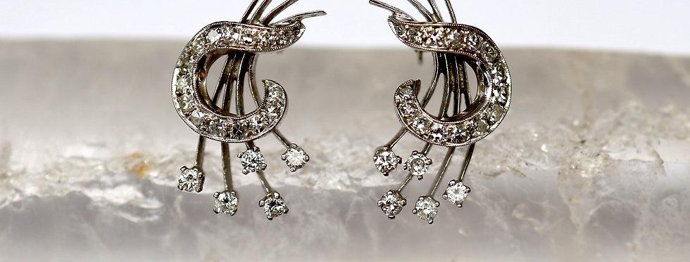 Retro Diamond Earrings in 14k White Gold / Diamond Spray Earrings