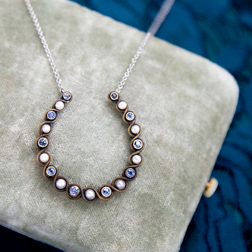 Large Victorian Horseshoe Necklace in 14k Pink Gold with Pearls and Synthetic Sa