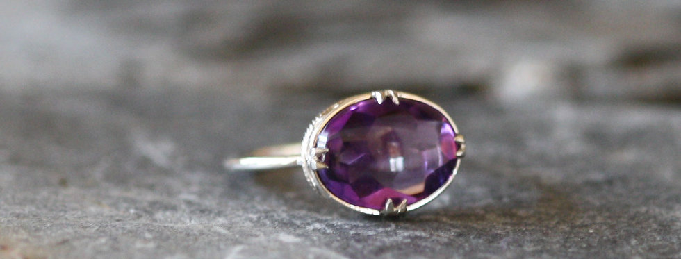 Art Deco Amethyst Ring Platinum Ring with Cabochon Amethyst
