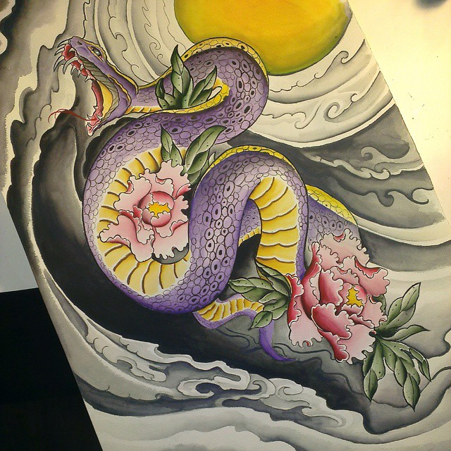 Instagram - #snake #peony #watercolor #sandiegoart #redcrowstudio #Japanese
