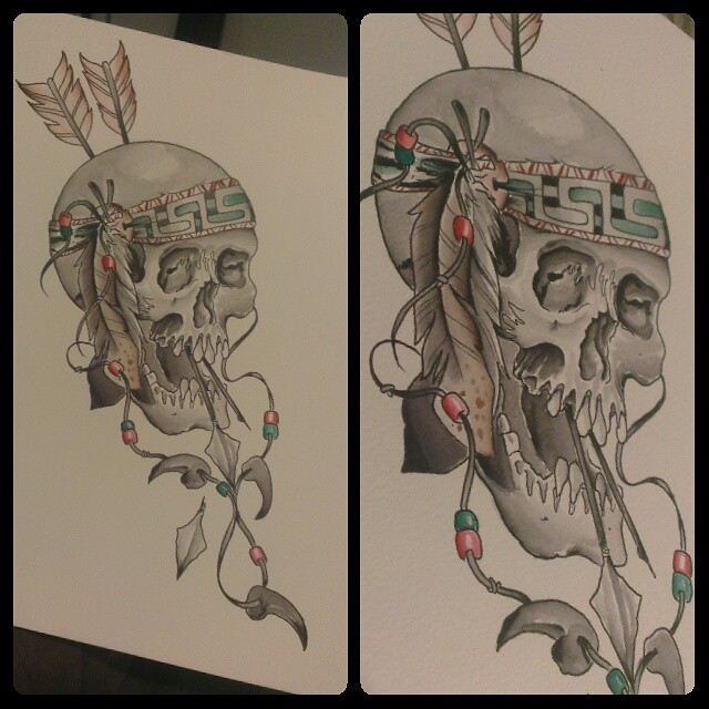 Instagram - #nativeamerican #skulls #watercolor #tattoo #flash #itsalreadytaken