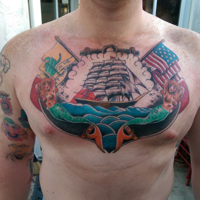 Instagram - #traditional_tattoo #sandiegotattooer #sandiegotattoo #ship #USA #Na