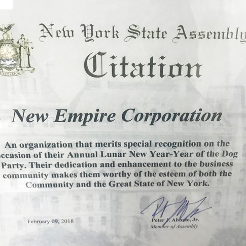 New York State Assembly Citation for New Empire Corp