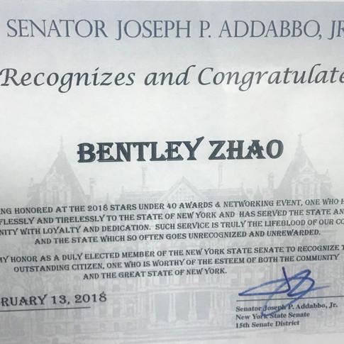 Bentley Zhao Stars Under 40 Awards