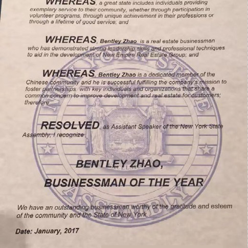 New York State Assembly Citation Bentley Zhao as Businessman of the Year in New York State