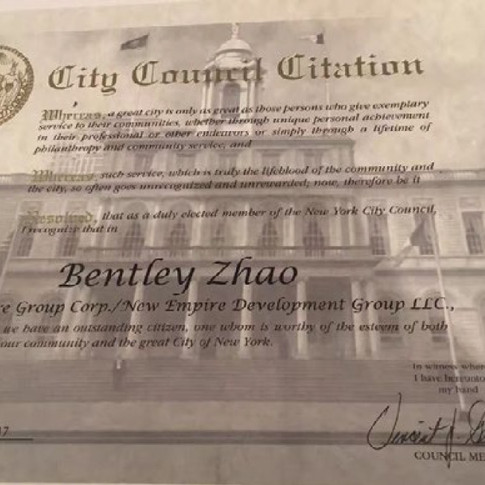 New York City council Citation Bentley Zhao of New Empire Real Estate Group as an Outstanding Citizen in New York State