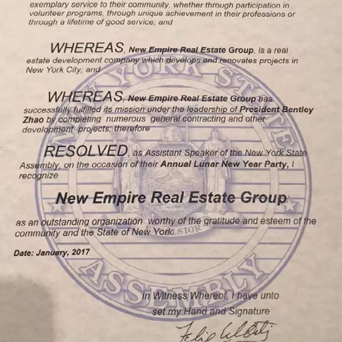 New York State Assembly Citation New Empire Real Estate Group as an Outstanding Organization in New York State