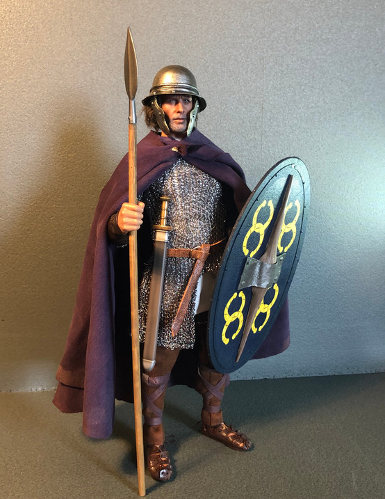 This started out as the Kaustic Plastik Celtic Warrior, but I replaced the head, mail shirt, tunic, belt and sword.