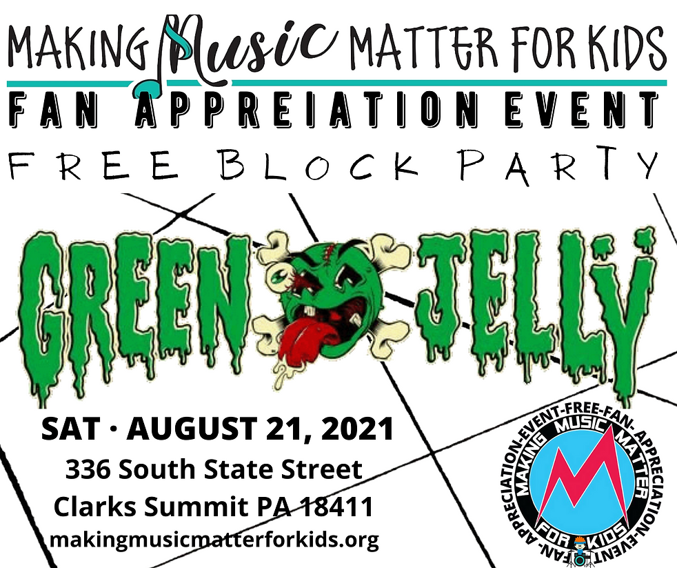 Shenanigans with Green Jellÿ Special guest Metal Mob a tribute to the godfathers of metal August 21 Summer event Clarks Summit Pennsylvania rock and roll music fan recognition local concert Fan appreciation celebration. Free block party outdoor concert Summer event. Reserved VIP tickets available