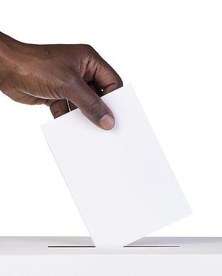 Ballot box with person casting vote on b
