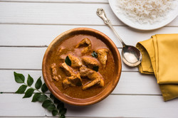 Indian fish curry with rice