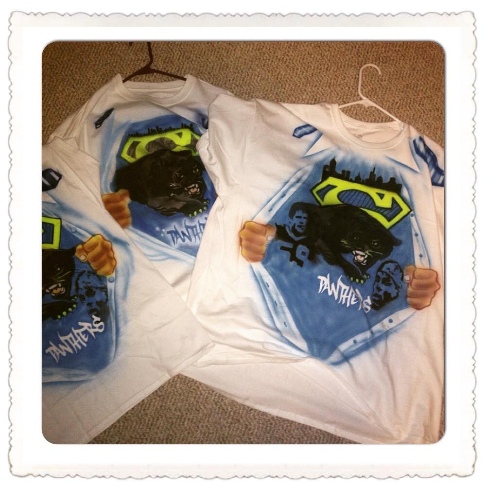 Airbrush shirt in Greensboro and Inspired Carolina Panthers