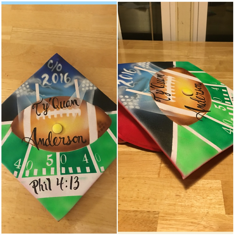 Chapel Hill and airbrush artist and Rock Hill Graduation Cap 2016.JPG