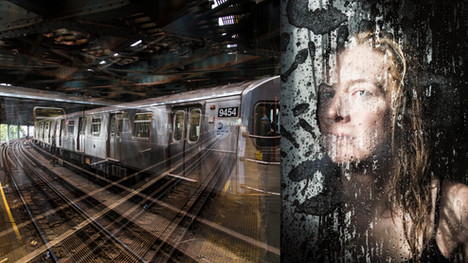 Double exposure photograph of the New York City subway, paired with a portrait.