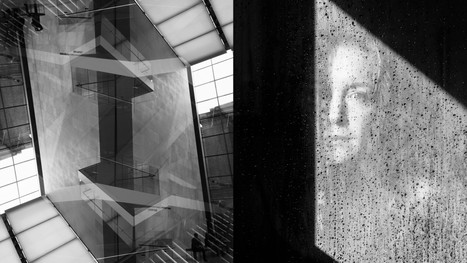 Double exposure photograph taken in the Museum of Fine Arts, Boston, MA, paired with a portrait.