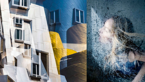 Double exposure photograph of the Stata Center at MIT, Cambridge, MA, paired with a portrait.