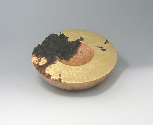 Big Leaf Maple Burl Vessel, 24 k Gold Leaf