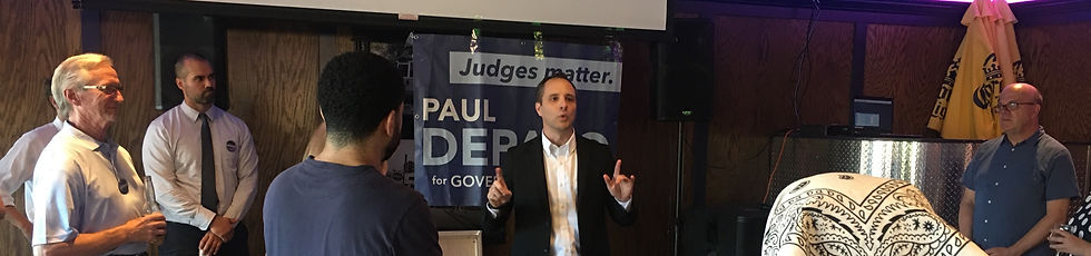 Massachusetts Governor's Councilor Paul DePalo Speaks at a campaign event with guest Congressman Jim McGovern of Worcester, July 26, 2021