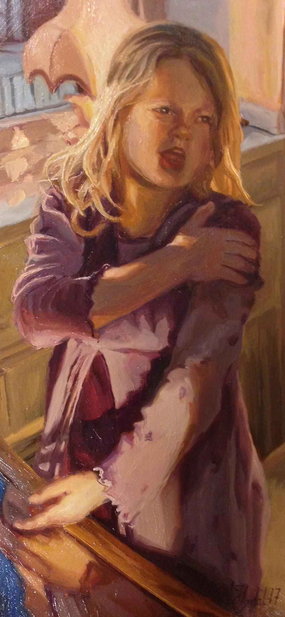 oil painting, oljemaleri, olje på plate, portrett