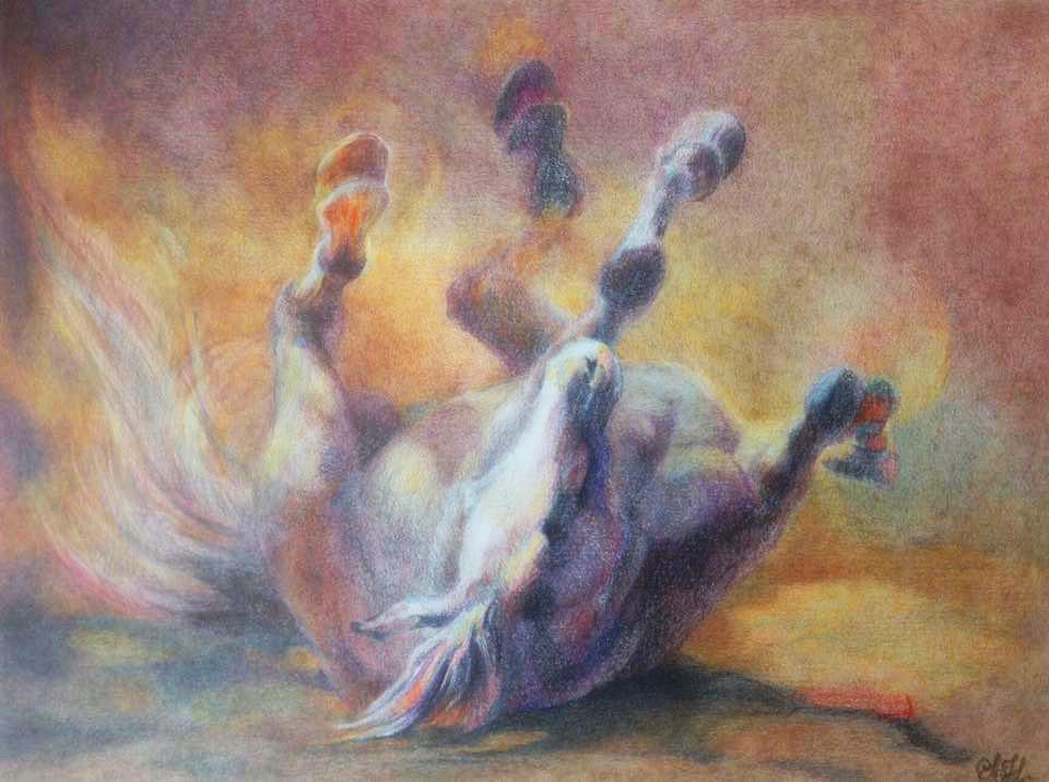 Rullende hest tegnet av Silje Høidal