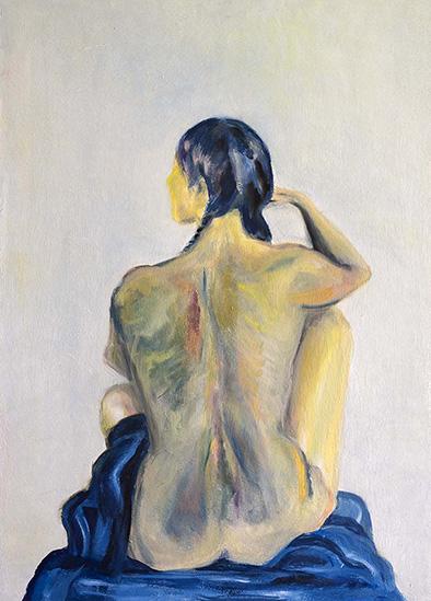 Frau mit Zöpfen