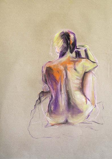 Frau mit Zöpfen in Pastell