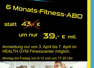 6 Monate Fitness Angebot im HEALT GYM Fitnesscenter