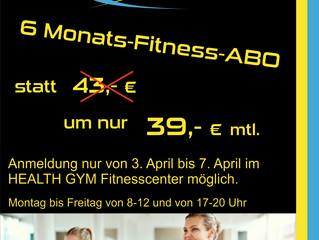 6 Monate Fitness Angebot im HEALT GYM Fitnesscenter