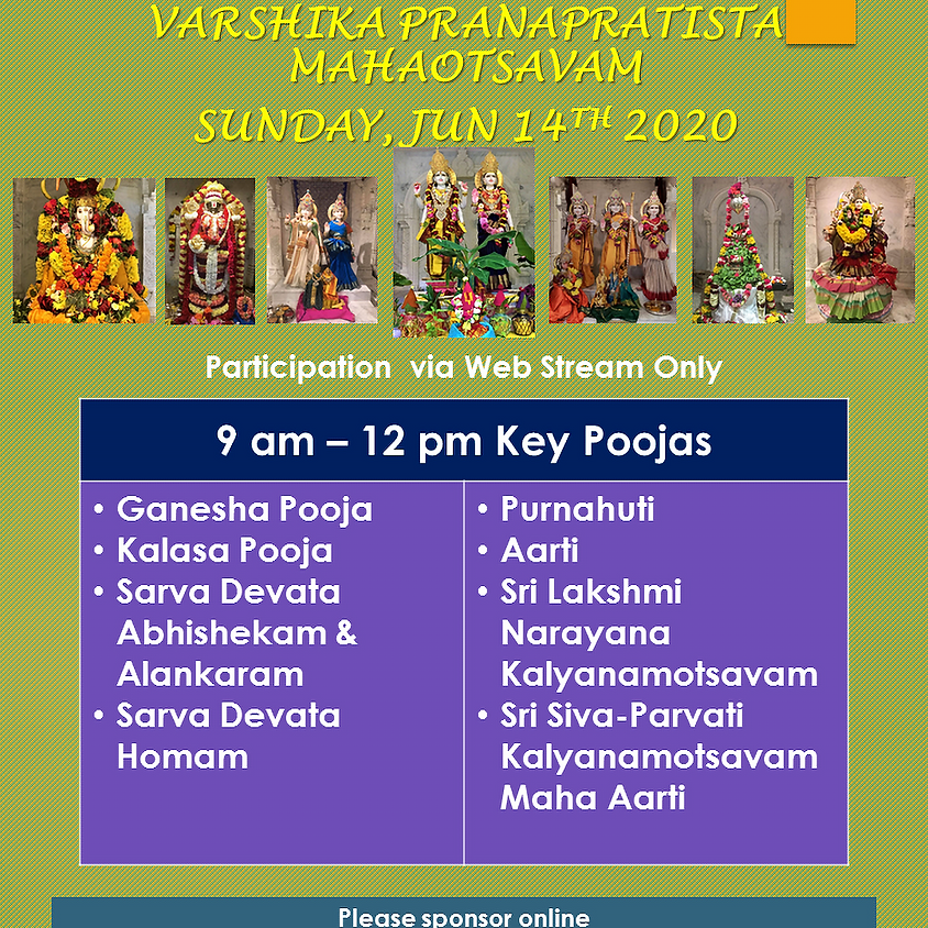 Varshika Pranaprathishta Mahotswam - June 14th