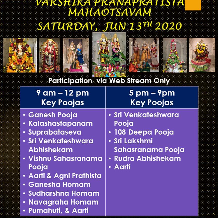 Varshika Pranaprathishta Mahotswam - June 13th