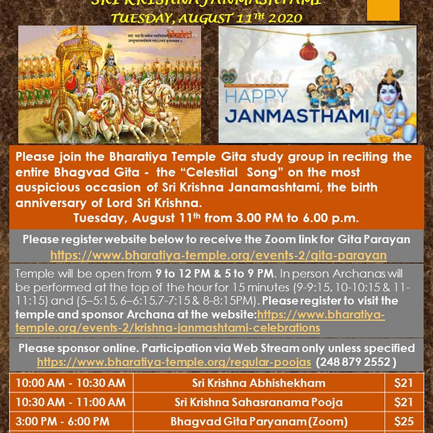 Krishna Janmashtami Celebrations 9am to Noon and 5pm to 9pm