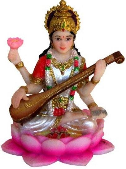 """3.5"""" Saraswathi on Lotus - Pink"""