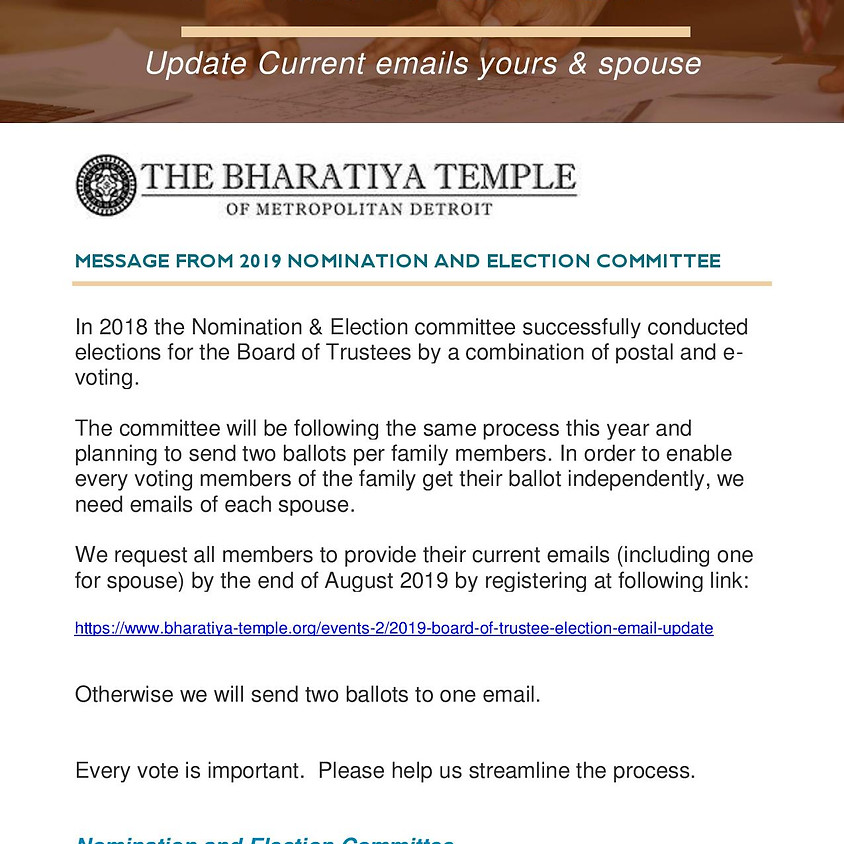 2019 Board of Trustee Election Email update