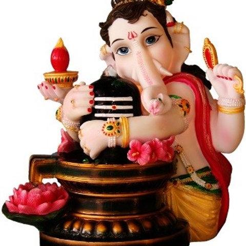 """12.0"""" Ganesha holding Lingam - Fountain"""