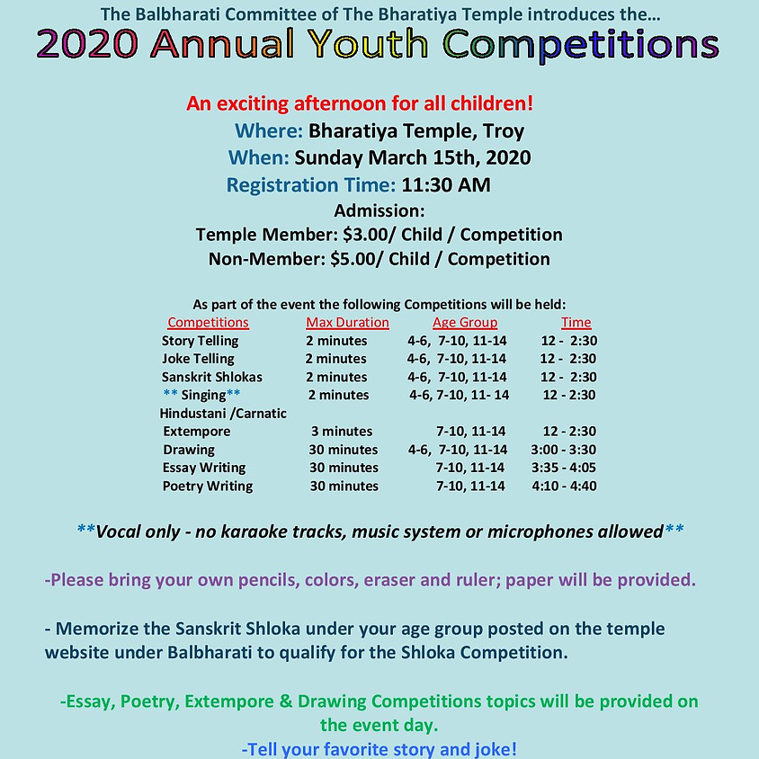2020 Balbharati Annual Youth Competetitions