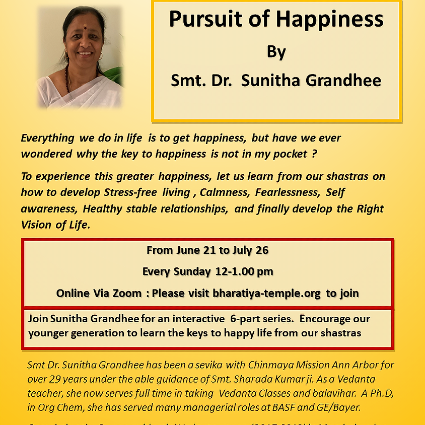 Pursuit of Happiness July 19th Sunday 12Noon to 1PM  (1)