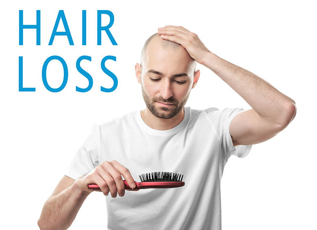 Hair loss concept. Man with brush on whi