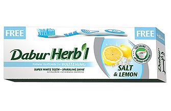 Зубная паста отбеливающая Соль с лимоном Dabur 80 г.